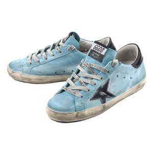 GGBD superstars sneakers. Light blue w writing